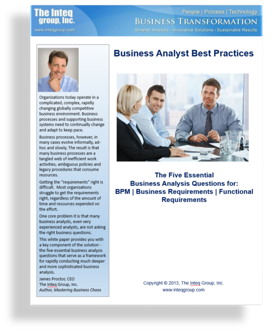 The Five Essential Business Analysis Questions