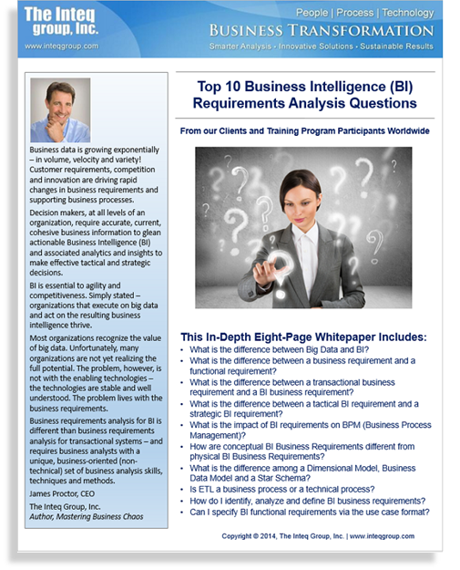 Top 10 Business Intelligence (BI) Requirements Analysis Questions